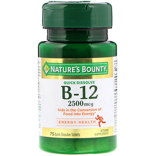Nature's Bounty, B-12, Natural Cherry Flavor, 2500 mcg, 75 Quick Dissolve Tablets