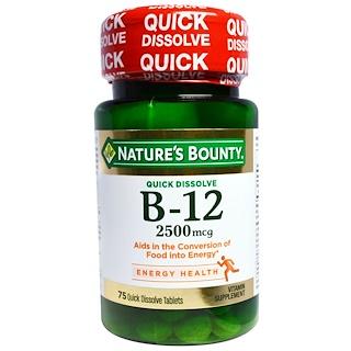 Nature's Bounty, B-12, 2500 mcg, 75 Quick Dissolve Tablets
