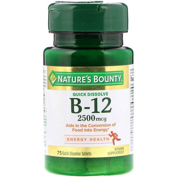 Nature's Bounty, B-12, Natural Cherry Flavor, 2,500 mcg, 75 Quick Dissolve Tablets