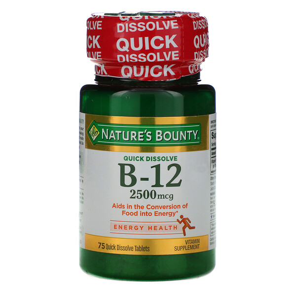 B-12, Natural Cherry Flavor, 2,500 mcg, 75 Quick Dissolve Tablets
