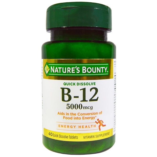 Nature's Bounty, B-12, 5000 mcg, 40 Quick Dissolve Tablets (Discontinued Item)