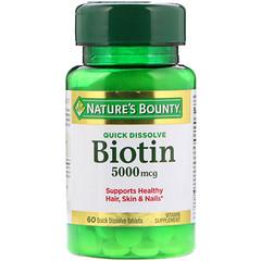 Nature's Bounty, Biotin, 5000 mcg, 60 Quick Dissolve Tablets