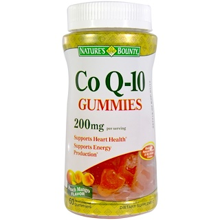 Nature's Bounty, Co Q10 Gummies, Peach Mango Flavor, 200 mg, 60 Gummies