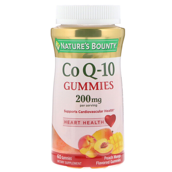 Nature's Bounty, Co Q10 Gummies, Peach Mango Flavored, 200 mg, 60 Gummies