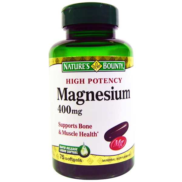 Nature's Bounty, Magnesium, 400 mg, 75 Softgels (Discontinued Item)