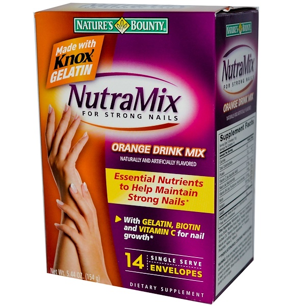 Nature's Bounty, NutraMix for Strong Nails, Orange Drink Mix, 14 Envelopes (Discontinued Item)