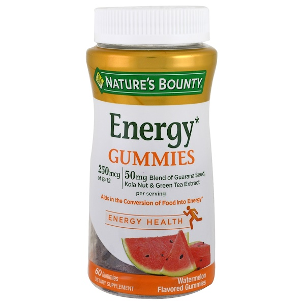Nature's Bounty, Energy Gummies, Watermelon Flavored , 60 Gummies