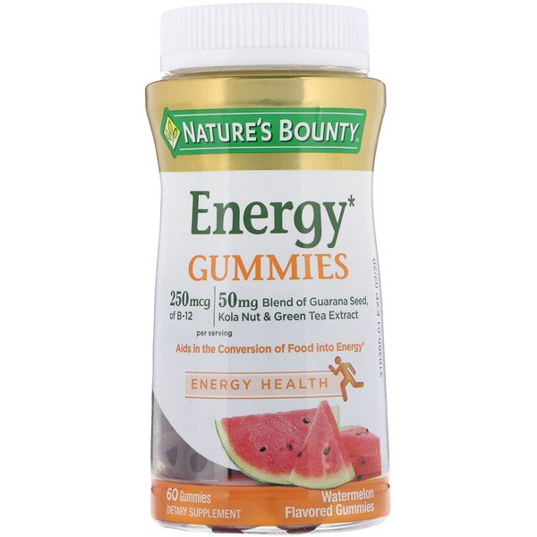 Energy Gummies, Watermelon Flavored, 60 Gummies