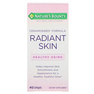 Nature's Bounty, オプティマルソリューション、艶のある肌のためのセラモサイドフォーミュラ、40ソフトジェル
