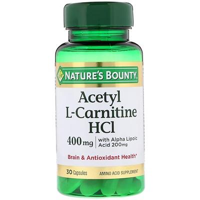 Ацетил L-карнитин HCI, 400 мг, 30 капсул ацетил l карнитин 500 мг 60 растительных капсул