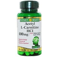 Nature's Bounty, 아세틸-L-카르니틴 HCI,  400 mg, 30 캡슐
