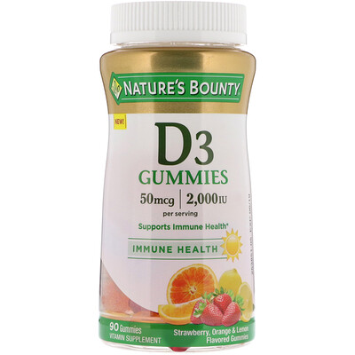 Nature's Bounty Vitamin D3 Gummies, Strawberry, Orange & Lemon Flavored, 50 mcg, (2,000 IU), 90 Gummies