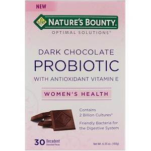 Nature's Bounty, Пробиотик с темным шоколадом, 30 изысканных шоколадных кусочков