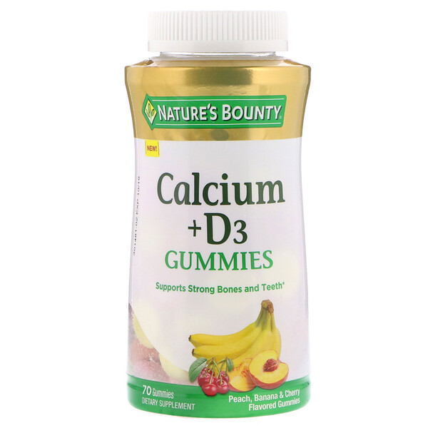 Calcium + D3 Gummies, Peach, Banana & Cherry Flavored, 70 Gummies