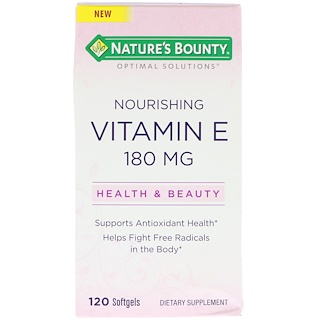 Nature's Bounty, Optimal Solutions, Vitamina E Nutritiva, 120 Cápsulas Softgel