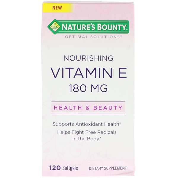 Nature's Bounty, Optimal Solutions, Nourishing Vitamin E, 120 Softgels (Discontinued Item)
