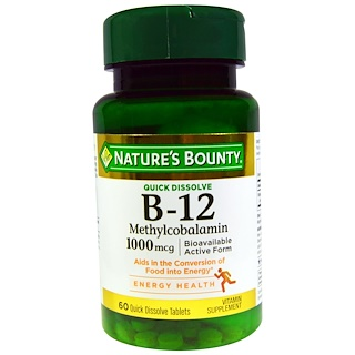 Nature's Bounty, B-12, 1000 mcg, 60 Quick Dissolve Tablets