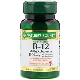 Nature's Bounty, B-12, Sabor Natural de Cereja, 1000 mg, 60 Comprimidos de Dissolução Rápida