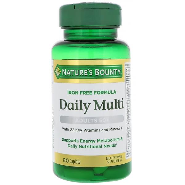 Nature's Bounty, Daily Multi,成年人50+, 80粒囊片