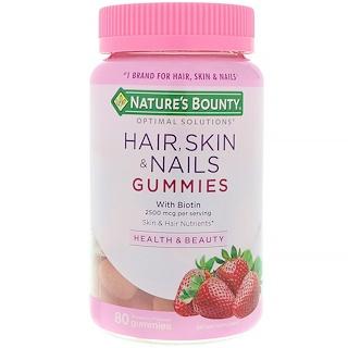 Nature's Bounty, Оптимальные решения, Для волос, кожи и ногтей с биотином, Со вкусом клубники, 80 жевательных таблеток