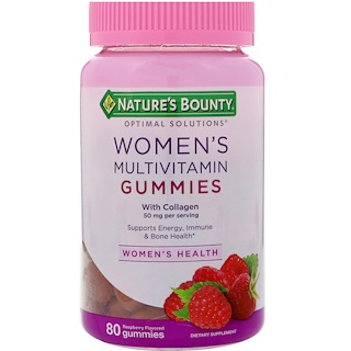 Nature's Bounty, Optimal Solutions, Women's Multivitamin with Collagen, Raspberry Flavored, 80 Gummies