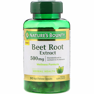 Nature's Bounty, Beet Root Extract, 500 mg, 90 Rapid Release Capsules