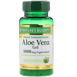 Nature's Bounty, Aloe Vera Gel, 5000 mg Equivalent, 100 Rapid Release Softgels