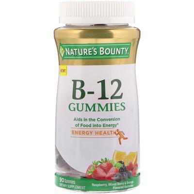 Купить Nature's Bounty Витамин B-12 в жевательных таблетках, со вкусом малины, ягодного сбора и апельсина, 90 жевательных таблеток