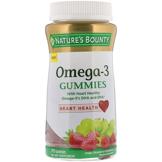 Nature's Bounty, Omega-3 Gummies, Grape, Strawberry & Raspberry Flavored, 70 Gummies