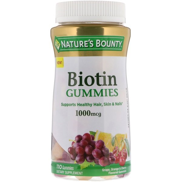 Nature's Bounty, Biotin Gummies, Grape, Orange & Cherry Flavored, 1,000 mcg, 110 Gummies