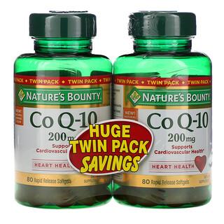 Nature's Bounty, CoQ10, Paquete con dos envases, 200mg, 80cápsulas blandas de liberación rápida cada uno