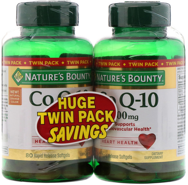 Co Q-10, Twin Pack, 200 mg, 80 Rapid Release Softgels Each