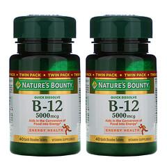 Nature's Bounty, B12,雙包,天然櫻桃味,5,000 微克,每包 40 片即溶片