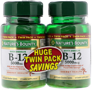 Nature's Bounty, B-12, Pacote Duplo, Sabor Natural de Cereja, 5000 mcg, 40 Comprimidos de Dissolução Rápida