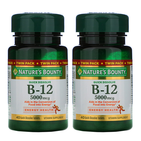 Nature's Bounty, B-12, Twin Pack, Naturally Cherry Flavor, 5,000 mcg, 40 Quick Dissolve Tablets Each