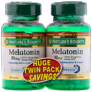 Nature's Bounty, Melatonin, Twin Pack, 10 mg, 60 Capsules Each