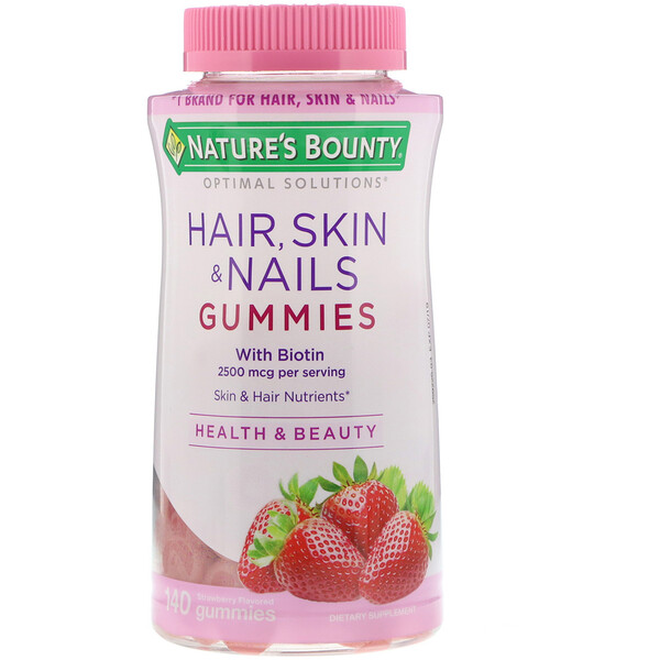 Nature's Bounty, Optimal Solutions, Hair, Skin, & Nails, Strawberry Flavored, 2,500 mcg, 140 Gummies