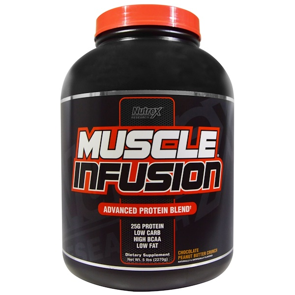 Nutrex Research, Muscle Infusion, Advanced Protein Blend, Chocolate Peanut Butter Crunch, 5 lbs (2270 g) (Discontinued Item)
