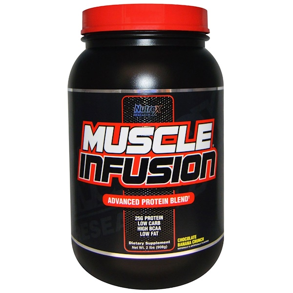 Nutrex Research, Muscle Infusion, Advanced Protein Blend, Chocolate Banana Crunch, 2 lbs (908 g) (Discontinued Item)