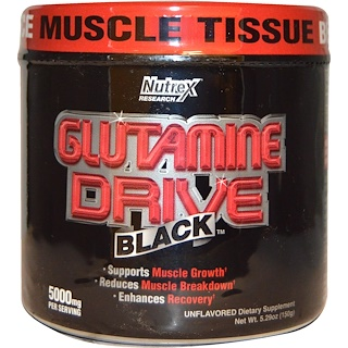 Nutrex Research Labs, Glutamine Drive, Black, Unflavored, 5000 mg, 5.29 oz (150 g)