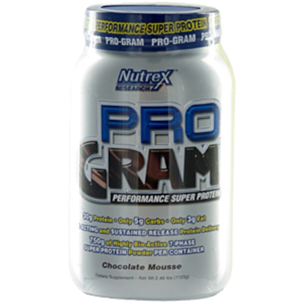 Nutrex Research Labs, Pro-Gram, Performance Super Protein, Chocolate Mousse, 2.48 lbs (1123 g) Powder (Discontinued Item)