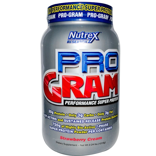 Nutrex Research Labs, Pro-Gram, Performance Super Protein, Strawberry Cream, 2.24 lbs (1015 g) (Discontinued Item)