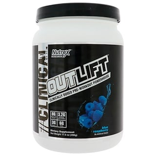 Nutrex Research Labs, Outlift, Clinically Dosed Pre-Workout Powerhouse, Blue Raspberry, 17.6 oz (498 g)