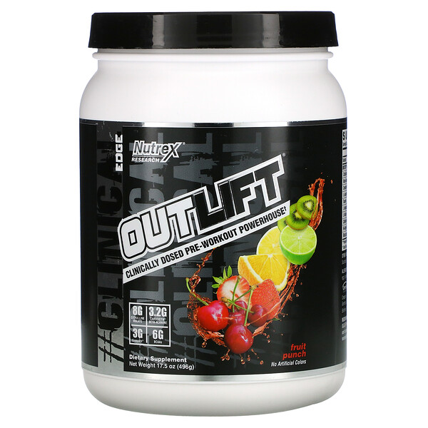 Outlift, Clinically Dosed Pre-Workout Powerhouse, Fruit Punch, 17.5 oz (496 g)