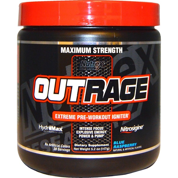 Nutrex Research, Outrage, Extreme Pre-Workout Igniter, Blue Raspberry, 5.2 oz (147 g) (Discontinued Item)