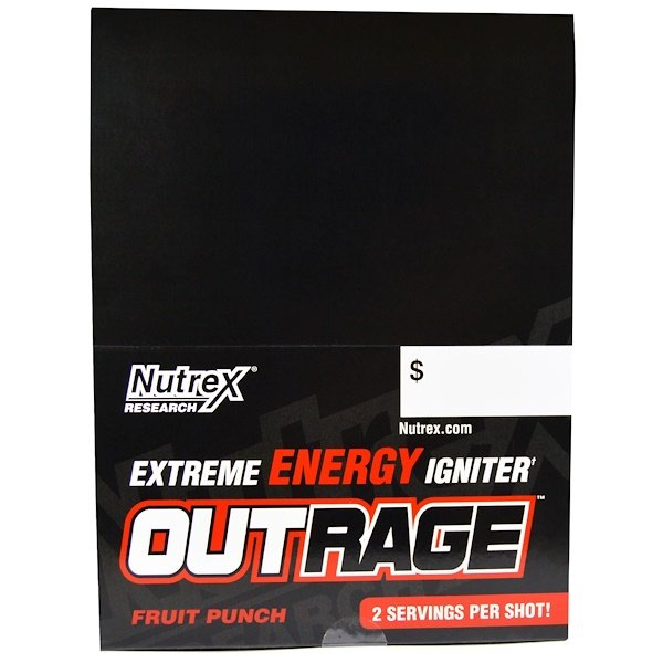Nutrex Research, Outrage, Extreme Energy Igniter, Fruit Punch, 12 Bottles, 4 fl oz (118.3 ml) Each (Discontinued Item)