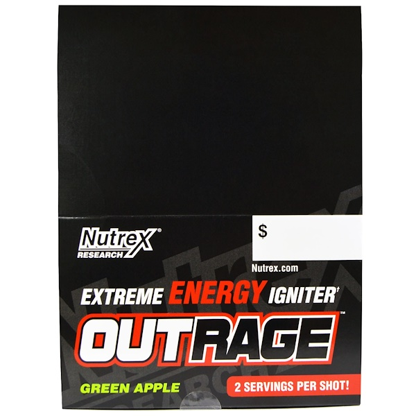 Nutrex Research, Outrage, Extreme Energy Igniter, Green Apple, 12 Bottles, 4 fl oz (118.3 ml) Each (Discontinued Item)