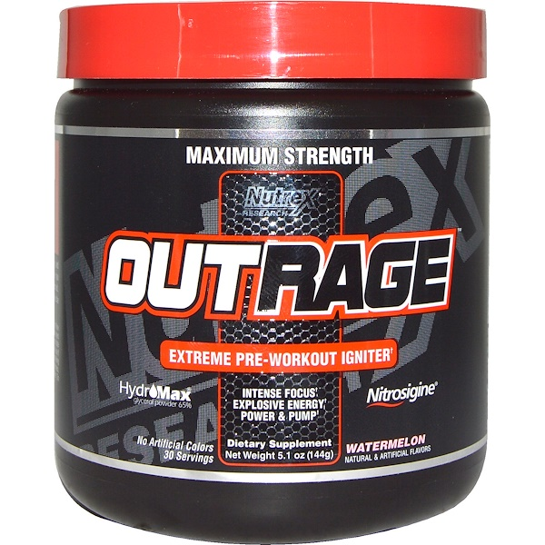 Nutrex Research, Outrage, Extreme Pre-Workout Igniter, Watermelon, 5.1 oz (144 g) (Discontinued Item)