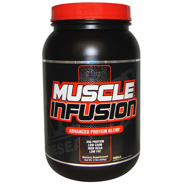 Nutrex Research, Muscle Infusion, Advanced Protein Blend, Vanilla, 2 lbs (908 g) (Discontinued Item)