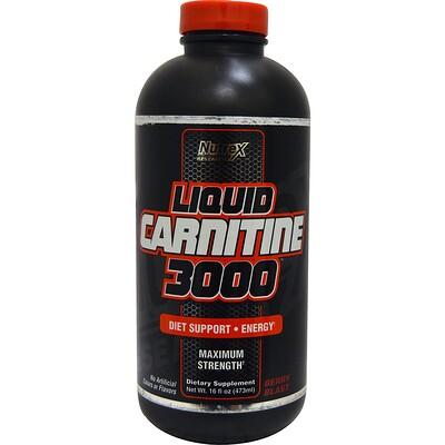 Купить Nutrex Research Liquid Carnitine 3000, со вкусом ягод, 473 мл (16 жидких унций)